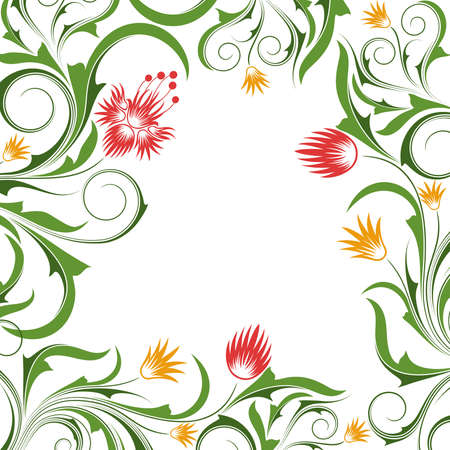White background with   abstract orange and red flowers and  branches
