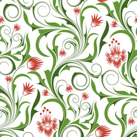 Seamless pattern from  red and orange flowers and leaves(can be repeated and scaled in any size) Vector