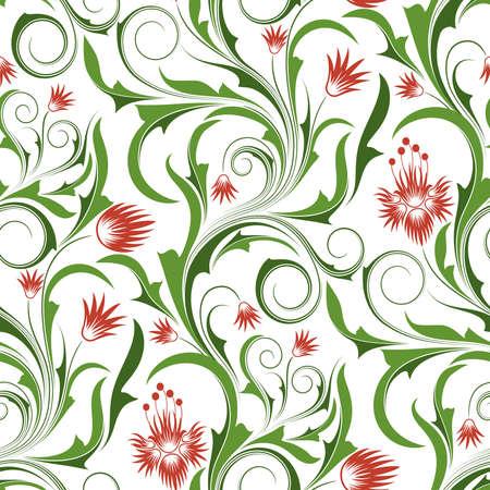effortless: Sin fisuras patr�n de rojo y naranja flores y hojas (puede repetirse y ampliarse en cualquier tama�o)