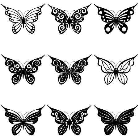 A set of nine different forms of butterflies