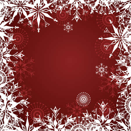Red background with snowflake and frosty patterns Vector