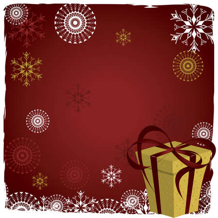 Christmas  background with  snowflakes and gift Vector