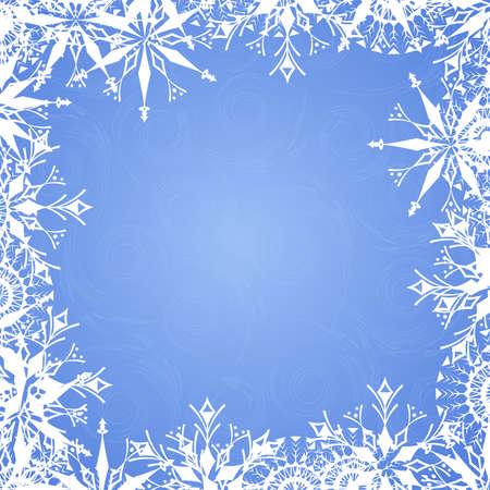 Fondo azul con copo de nieve helada y patrones