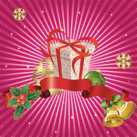 Christmas  background with  snowflakes,gift, ball and berries Vector