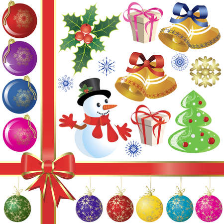 Set of christmas items for decoration Vector