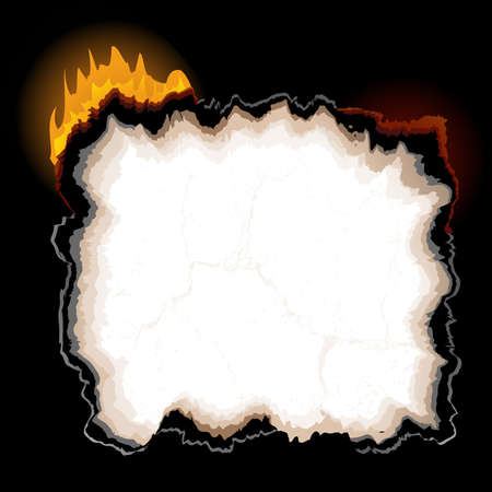 burning paper: A piece of burning paper with jagged edges