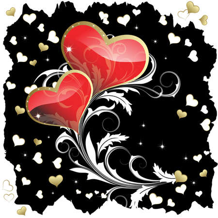 A pair of hearts with a white branch on a black background Vector