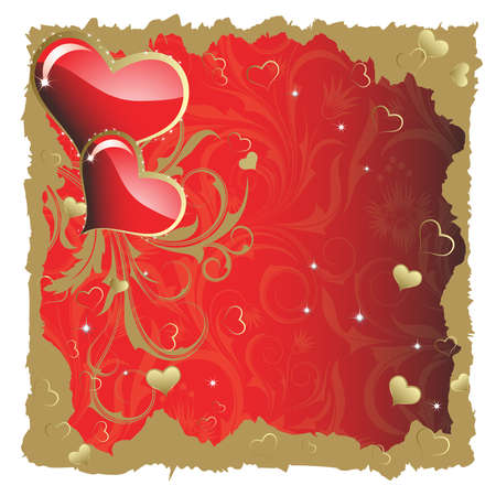 A pair of hearts with a gold branch on a red background Vector