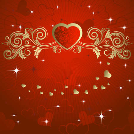 Heart with a gold branch on a red background Vector