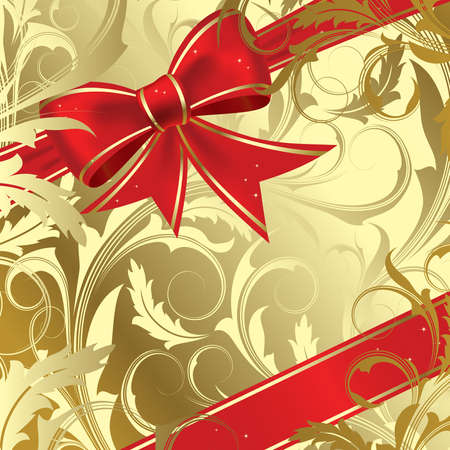 Red christmas bow on a gold background