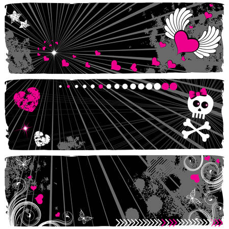 A set of three modern emo banners Vector