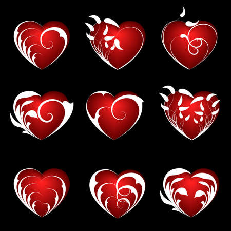 A set of nine hearts on a black background Stock Vector - 3965750