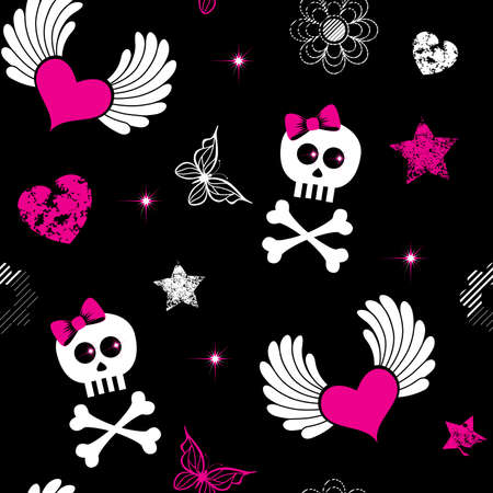 Seamless from emo symbols(can be repeated and scaled in any size) Vector