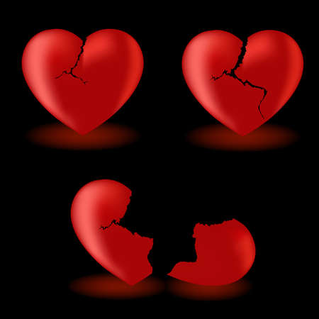 Set from broken hearts  on a black background Vector