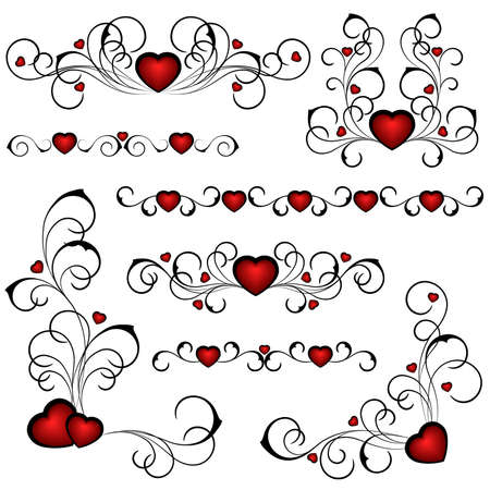 computer vector: Set from heats with a floral pattern Illustration