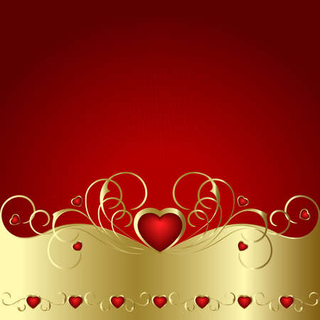 Heart to the St.Valentine on a red background Illustration