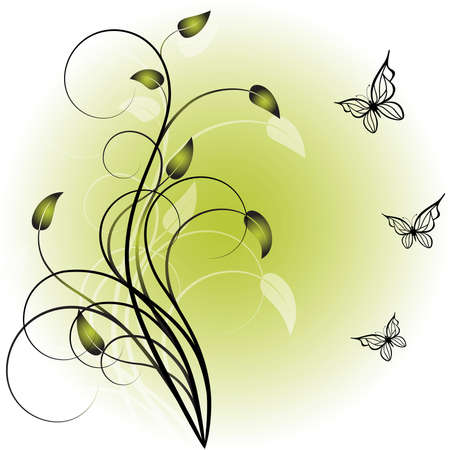 Green background with elegance  plant and butterflies Illustration