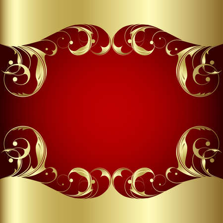 Elegance  plant wiht gold leaves on the red background Illustration