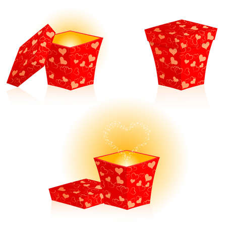 Set from gift; boxes from red wrapping with hearts Vector