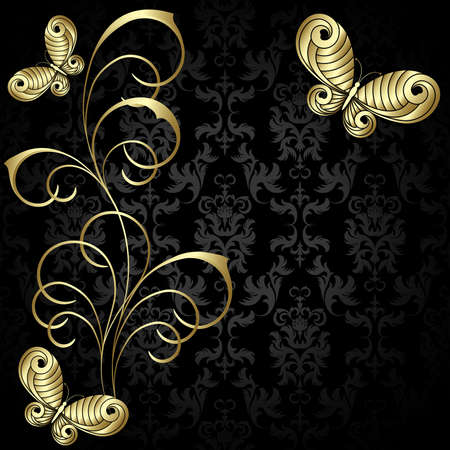 animal vector: Elegance  plant wiht gold leaves and  butterflies on the black background Illustration