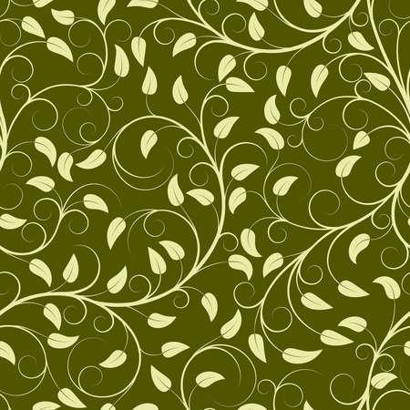 effortless: Patr�n sin fisuras de las plantas verdes (puede repetirse y ampliarse en cualquier tama�o) Vectores