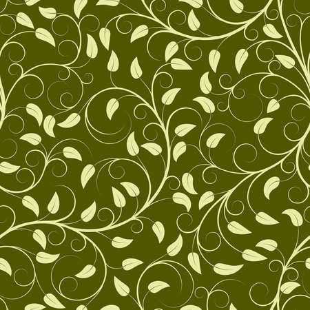 vector texture: Seamless pattern from green plants(can be repeated and scaled in any size)