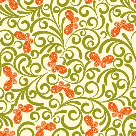 scaled: Seamless pattern from green plants and orange butterflies(can be repeated and scaled in any size)