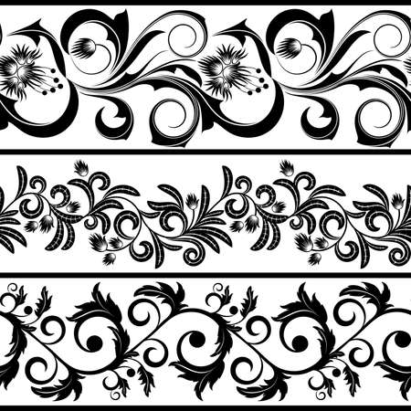 leaves vector: Set from three black and white borders