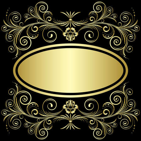 Gold frame from flowers and leaves on the black background Vector
