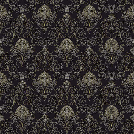 scaled: Seamless pattern from gold flowers and leaves(can be repeated and scaled in any size) Illustration