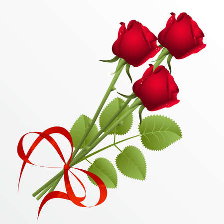 Three red roses on a white background Vector