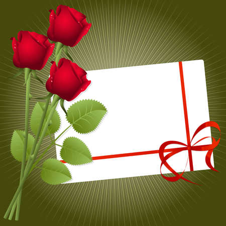Three red roses on a green background Vector