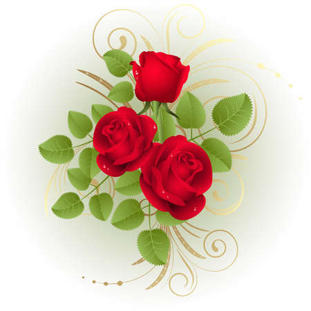 Three red roses on a white background Stock Vector - 4231145