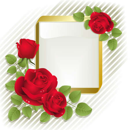 Red roses with gold frame on a white background Stock Vector - 4259738