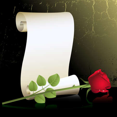 bud: A single red rose with roll of paper  Illustration