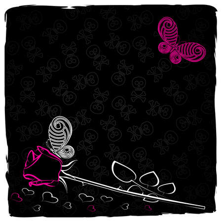 Emo  background with rose and  butterflies Vector