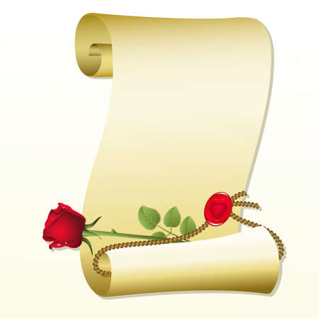 Roll of paper with rose on a white background Vector