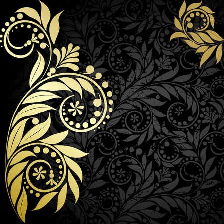 Elegance  plant wiht gold leaves  on the black background