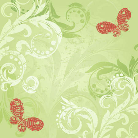 Green background with elegance  plant with swirls Vector
