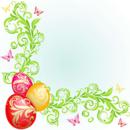 Easter background with eggs decorated with golden ornaments and green plants Vector