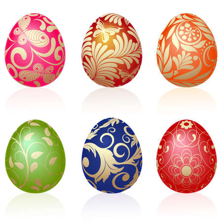 Set of six Easter eggs with gold ornaments Vector