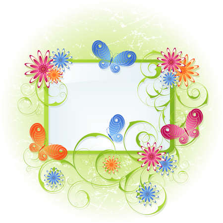 Spring green background with flowers and butterflies Vector