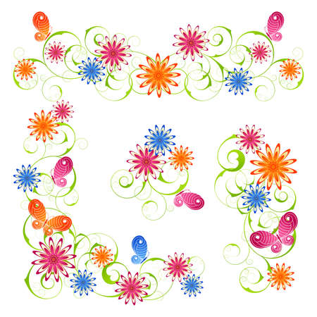 Spring design elements from flowers and butterflies Vector
