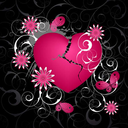 Emo  background with heart and flowers. Vector