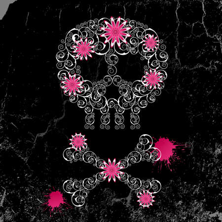 Grunge emo  background with skull and flowers. Illustration