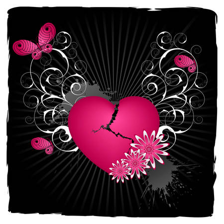Emo  background with heart and flowers. Illustration