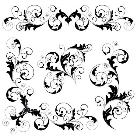 Set from  black design elements on a white background Stock Vector - 4484631