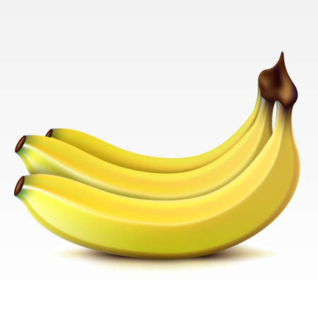 fruitage: Yellow bunch  of bananas on a white background Illustration