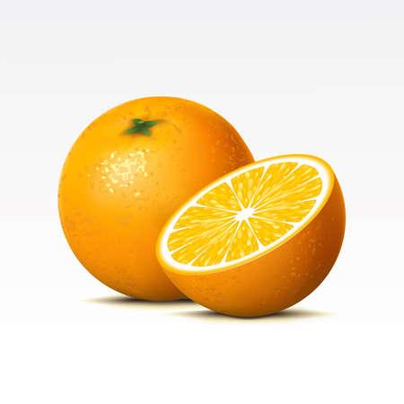 frutas tropicales: Dos naranjas sobre un fondo blanco