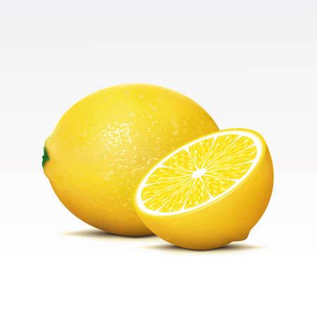 fruited: Two lemons on a white background